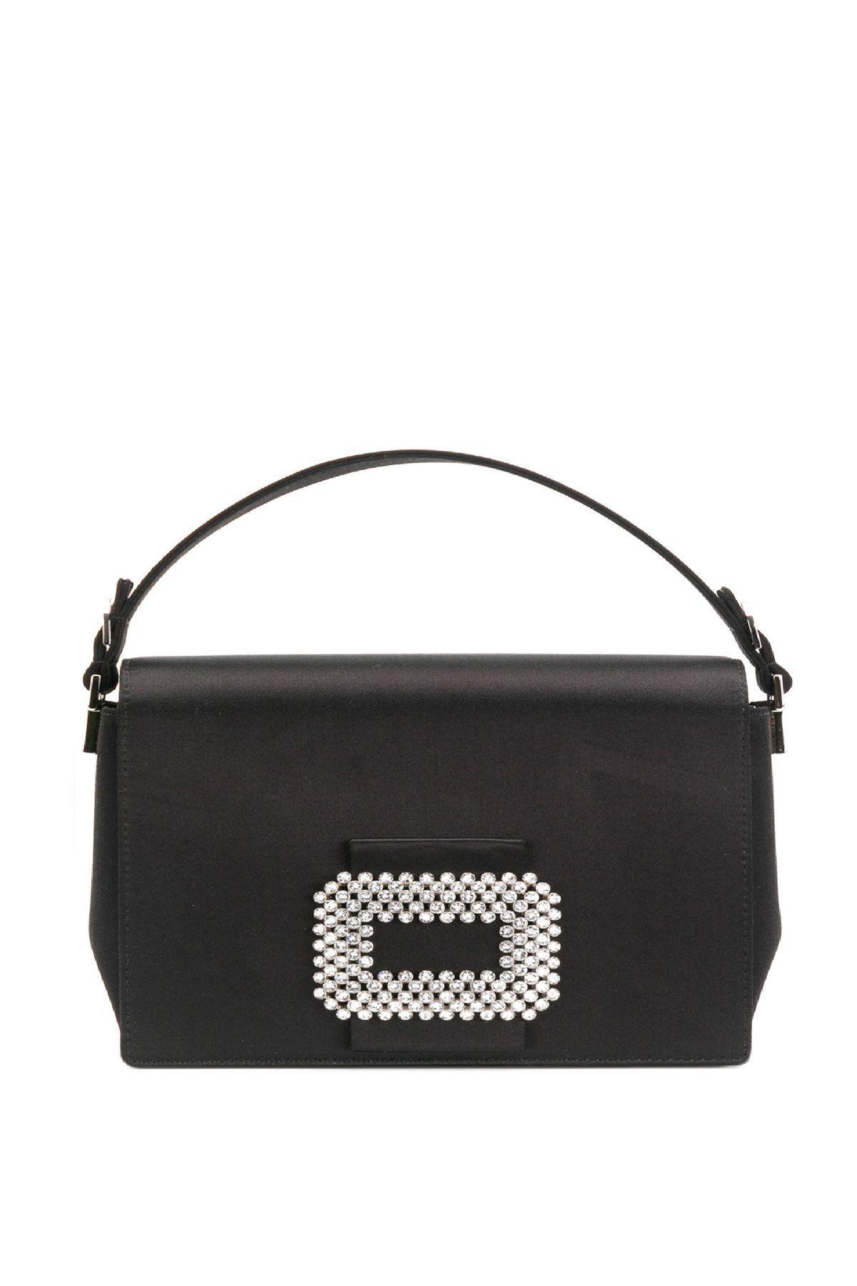 a2823fdea2 Roger Vivier Madame Viv Satin Shoulder Bag In Black
