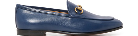 Gucci 10Mm Jordaan Horsebit Leather Loafers In Navy