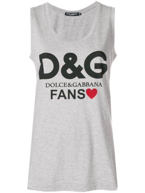 Dolce & Gabbana Fans Graphic Jersey Tank Top In Grey