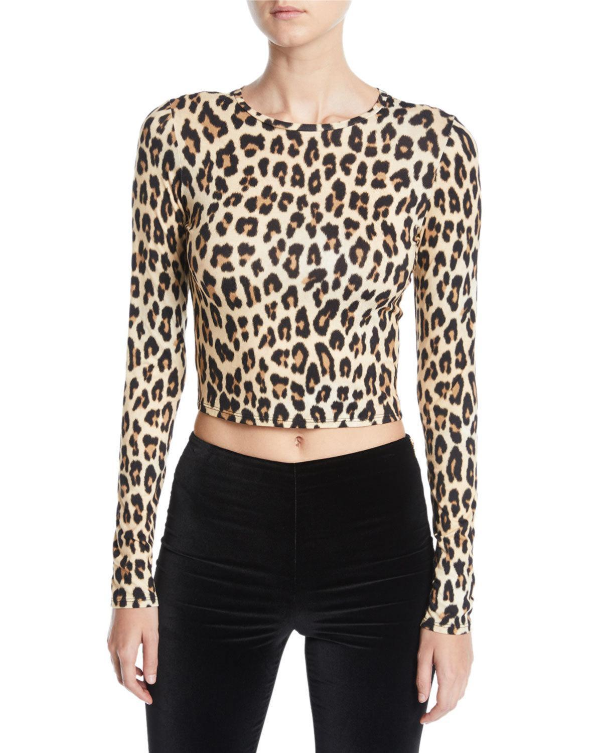 c3f67040701f Alice And Olivia Alice + Olivia Delaina Leopard Print Cropped Top In  Textured/Leopard