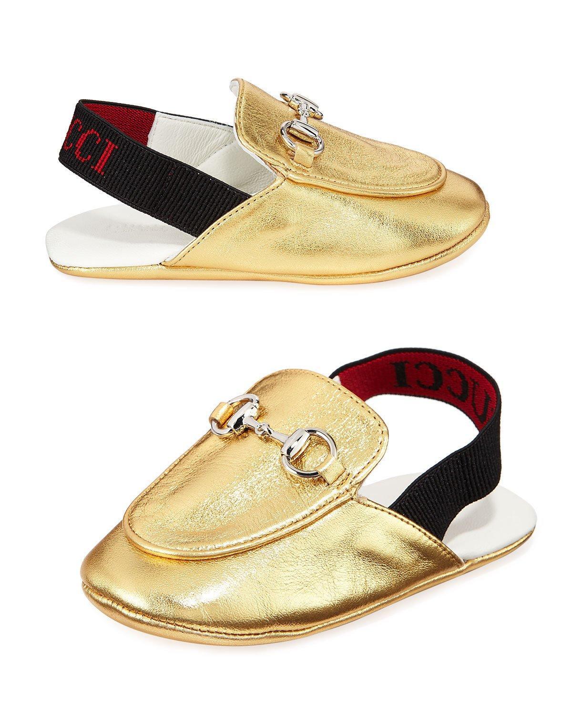 753bb18c187 Gucci Princetown Metallic Leather Horsebit Mule Slides