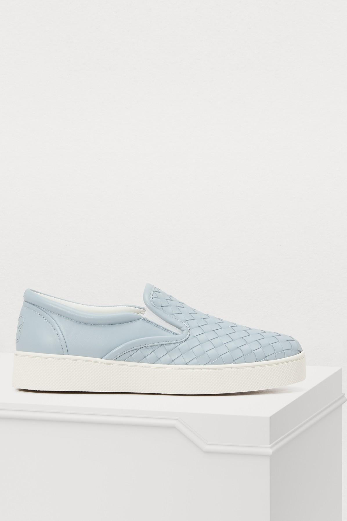 Bottega Veneta Intrecciato Leather Slip-On Sneakers In Blue