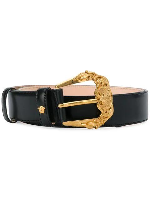 Versace Women's Dcdg654dv6tk410t Black Leather Belt In K41ot Black