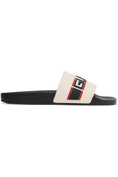 Gucci Women's Pursuit Stripe Pool Slides In 9572 White
