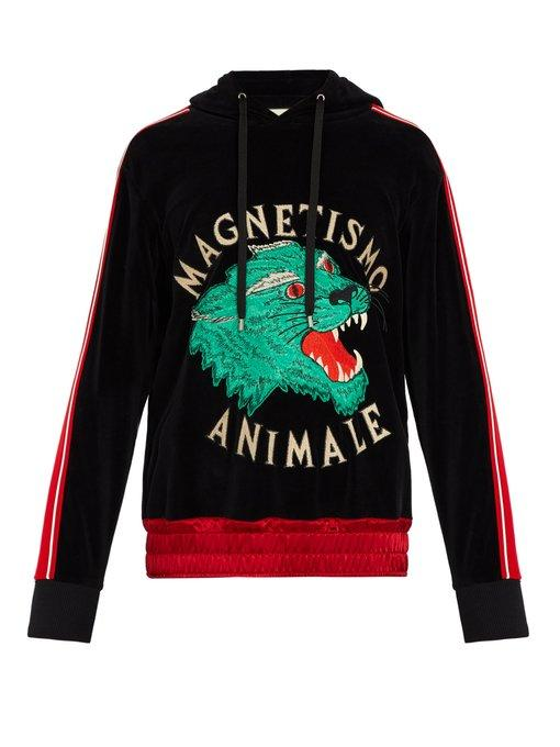82afa104 Gucci Magnetismo Animale Chenille Sweatshirt In Black | ModeSens