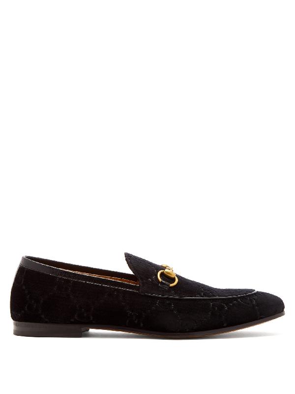 Gucci New Jordaan Horsebit Leather-trimmed Logo-embroidered Velvet Loafers In Black Gg Velvet