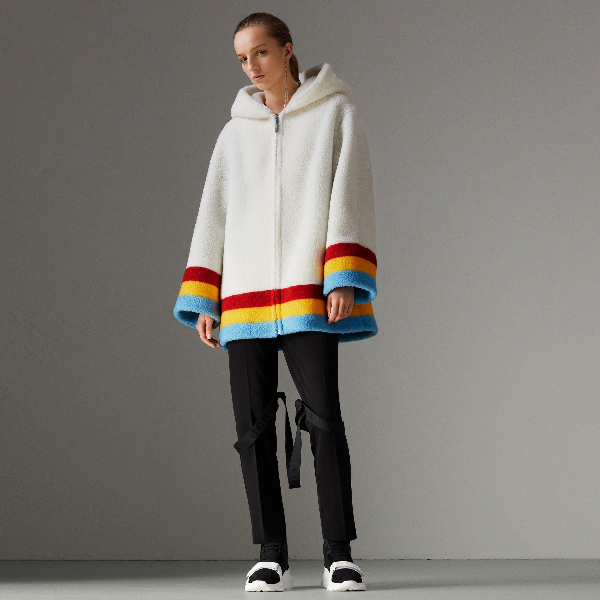 e7f42ef45d00 Burberry Craven Striped Faux-Shearling Hooded Jacket In White