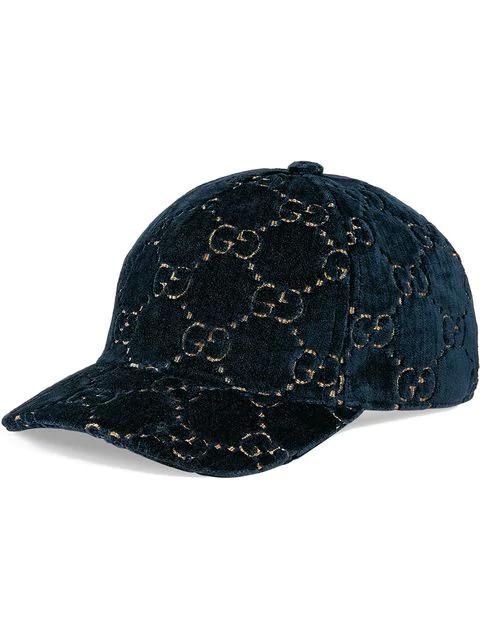 Gucci Logo Embroidered Velvet Baseball Cap - Black In Blue