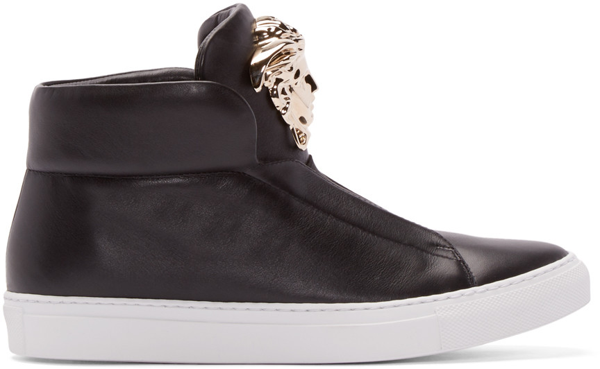 Versace Medusa Head Laceless Leather Sneakers In Black & Gold