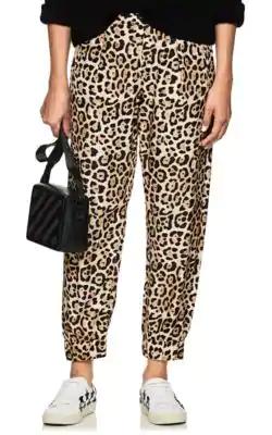 Atm Anthony Thomas Melillo Leopard-Print Silk-Charmeuse Track Pants In Multi