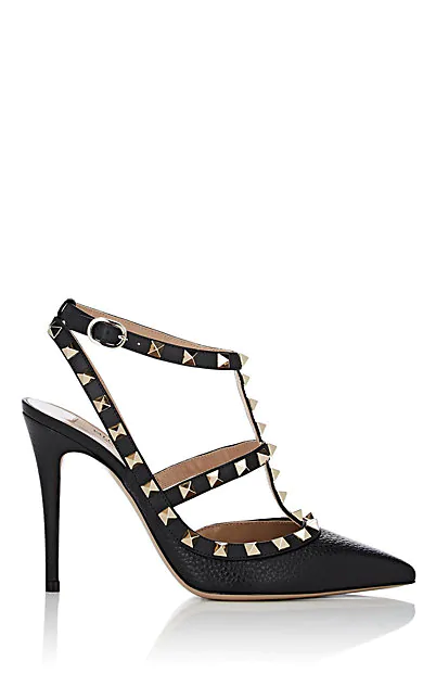 Valentino Rockstud Pebbled Leather Ankle-Strap Pumps In Black