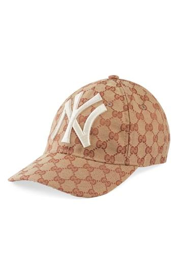 54afb08021a Gucci Men s Logo-Print Baseball Cap With New York Yankees Applique In Brown