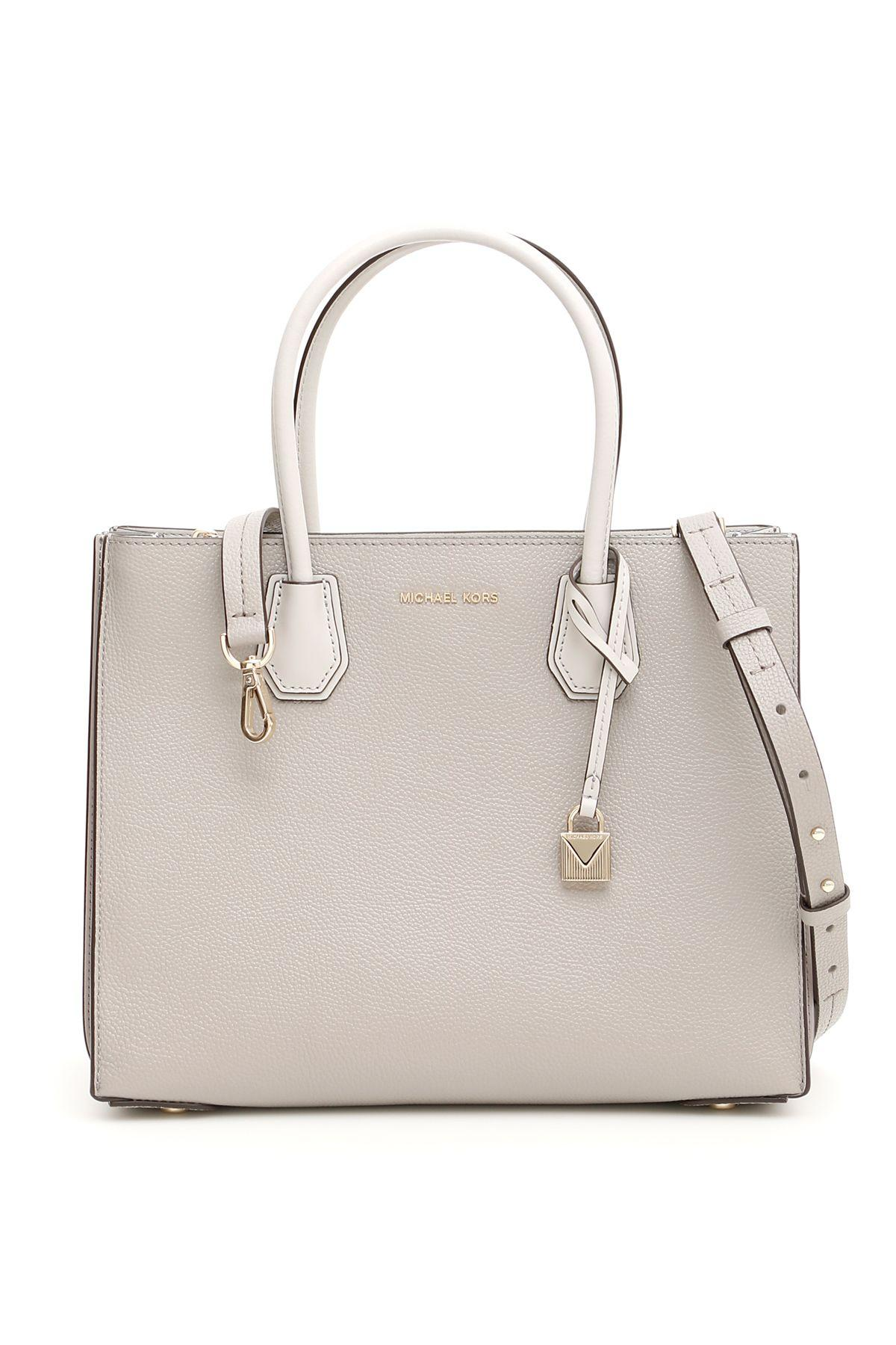 dee64ca8eead Michael Michael Kors Michael Kors Pearl Grey Mercer Accordion Leather Tote  Bag