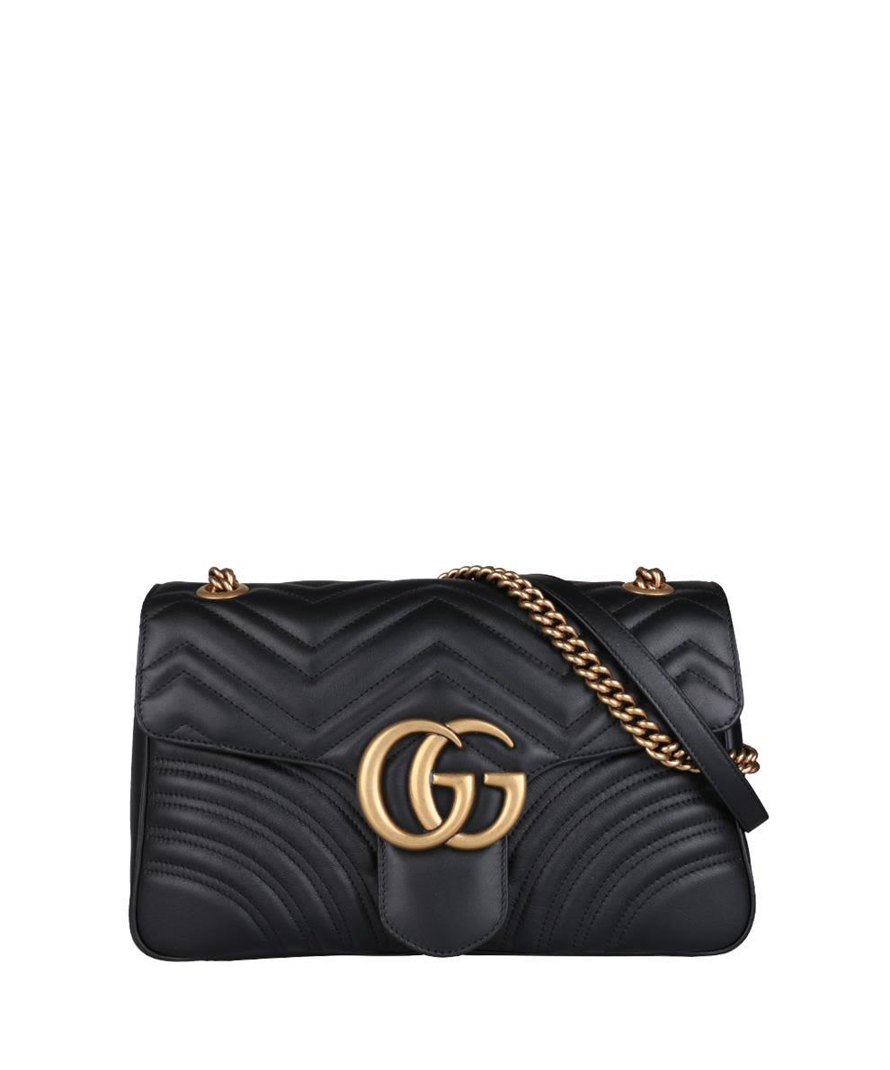 ac0e86763d28 Gucci Women's Black Gg Marmont Medium Leather Shoulder Bag In 1000 Black