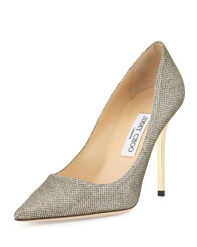 247934234831 Jimmy Choo Romy 100 Light Bronze LamÉ Glitter Pointy Toe Pumps. MEMBER  ONLY. 625Login to see price