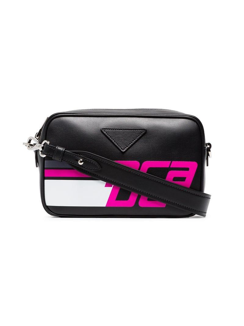 4faa0c6a37c1 Prada Logo Print Shoulder Bag Leather Black/Fuchsia | ModeSens
