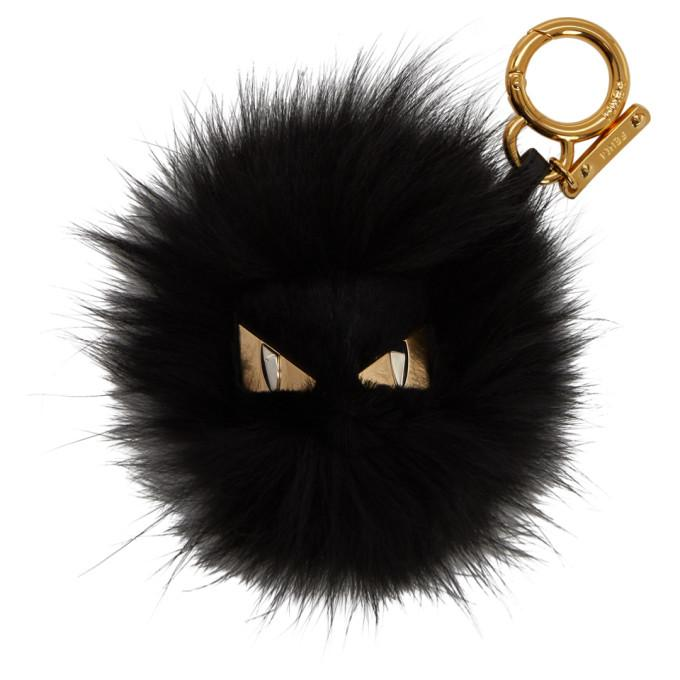 Fendi Black Fur Bag Bugs Keychain In F0kur Black