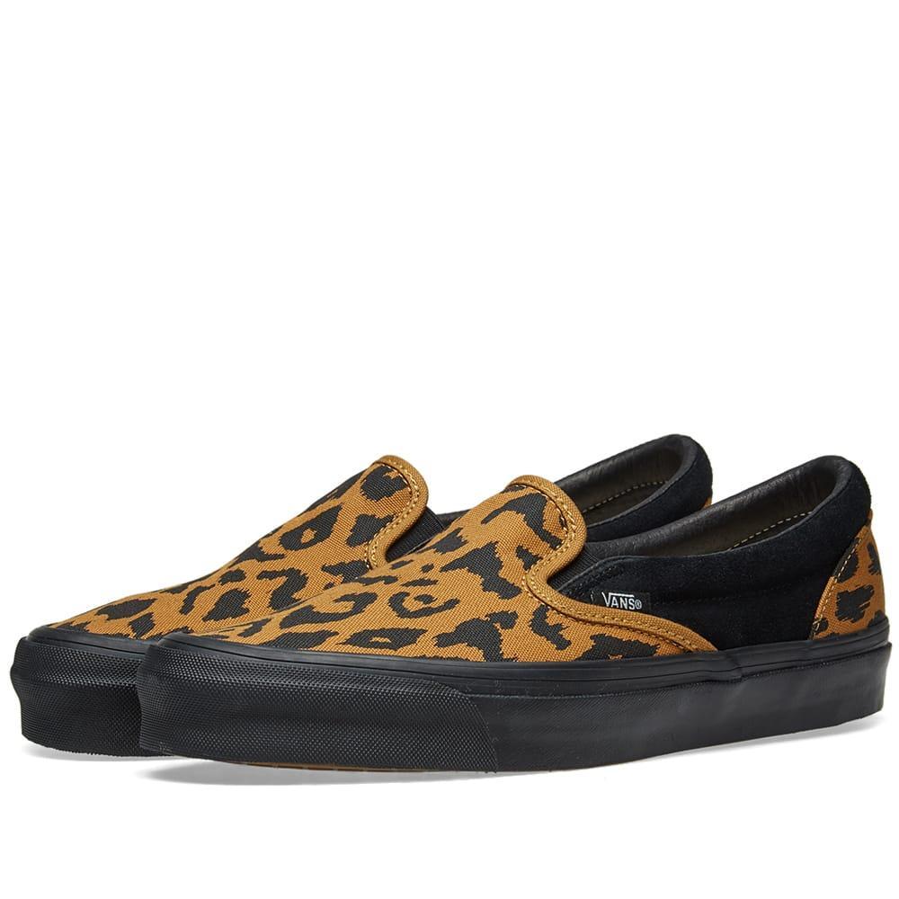 b25f3b31799338 Vans Black And Yellow Vault Ua Og Leopard Print Slip On Sneakers ...