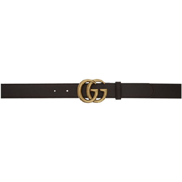 Gucci Reversible Leather Belt With Double G Buckle  In 1000 Black