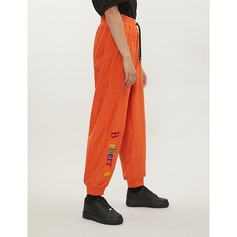 Burberry Embroidered French Terry Sweatpants In Orange