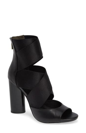 8c48495af38 Donna Karan Briana Multi-Strap Heeled Leather Sandal In Black