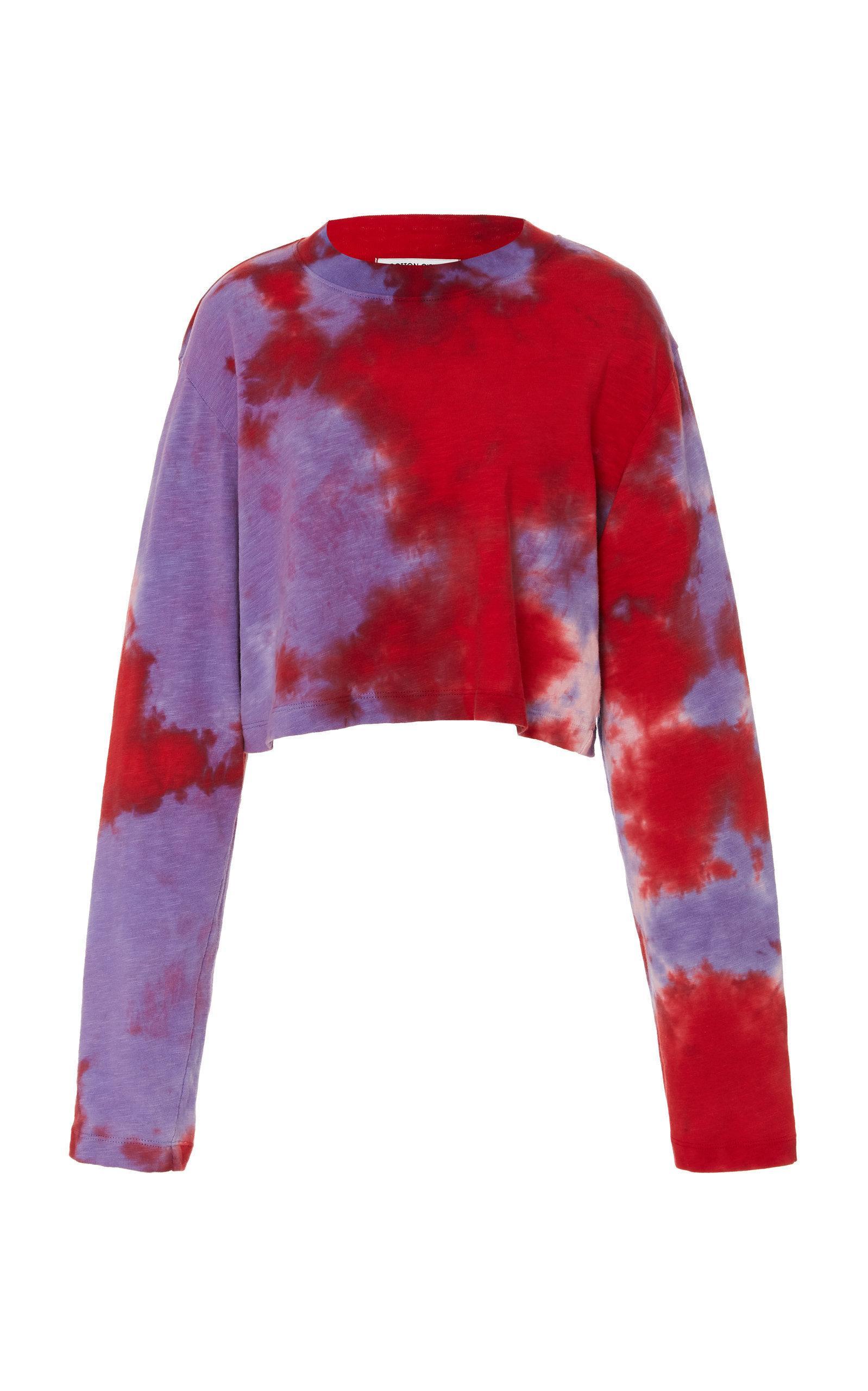 6819fa8c8dd Cotton Citizen Tokyo Crop Long Sleeve Shirt In Cherry & Lavender Tie Dye