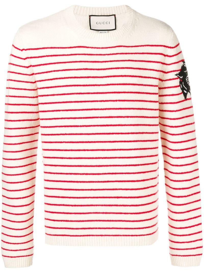 97aa1e99054 Gucci Striped Intarsia Jumper - White