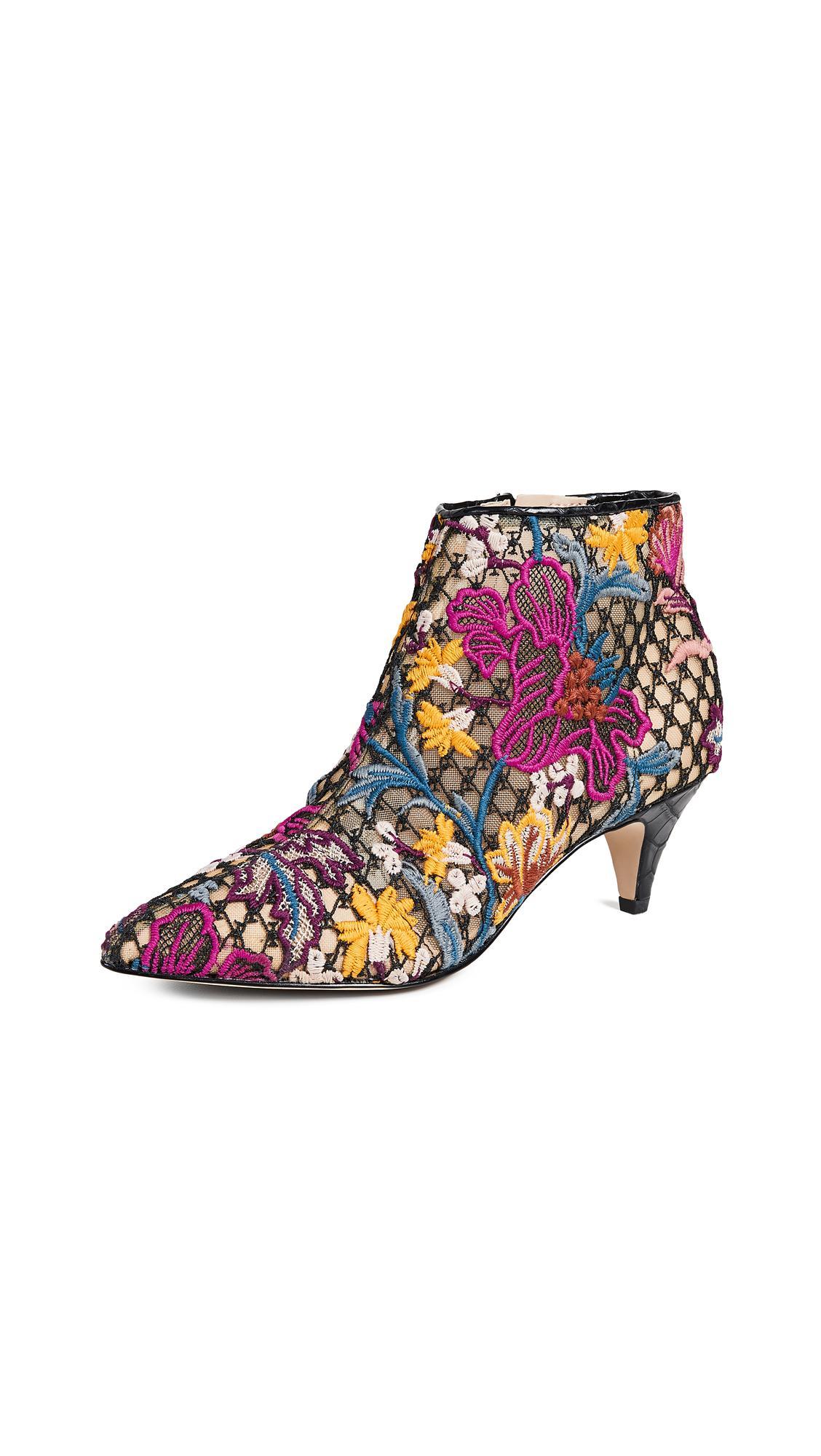 1d0687c3fff0 Sam Edelman Women s Kinzey Floral-Embroidered Kitten-Heel Booties In Bright  Multi