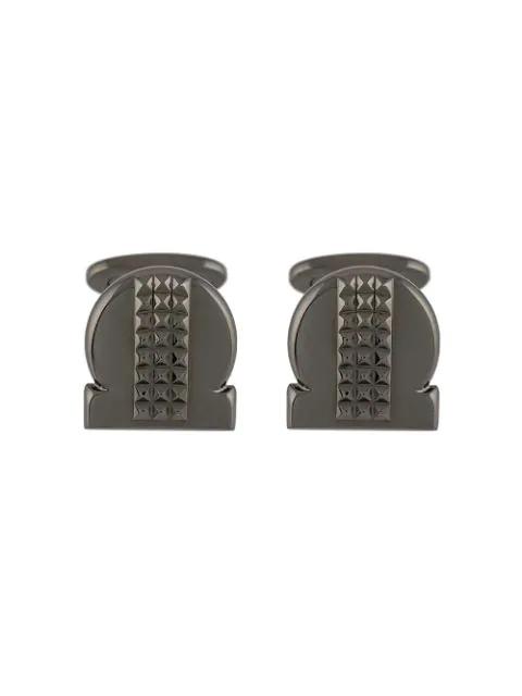 Salvatore Ferragamo Studded Gancio Cufflinks In Metallic