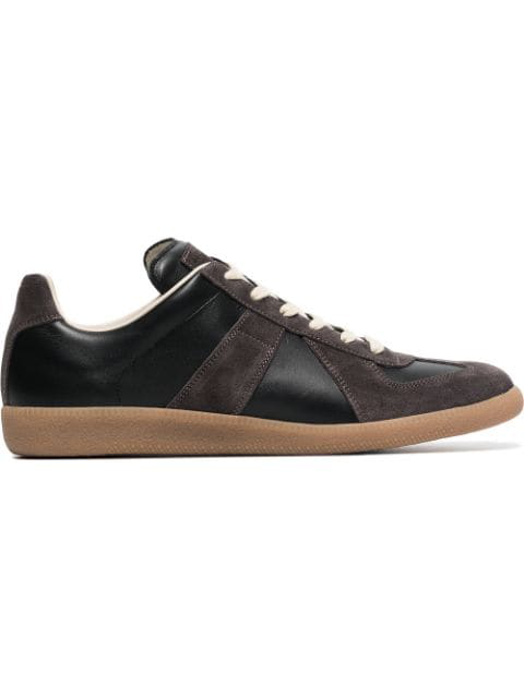 Maison Margiela Brown Replica Suede Leather Sneakers In Black
