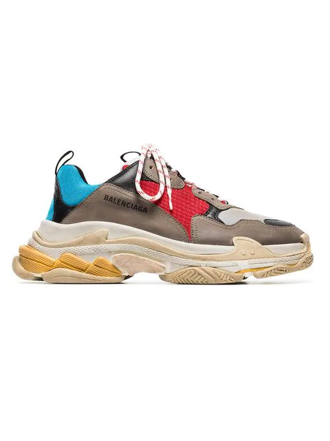 Balenciaga Triple S Mesh, Nubuck And Leather Sneakers In Grey, Blue, Red