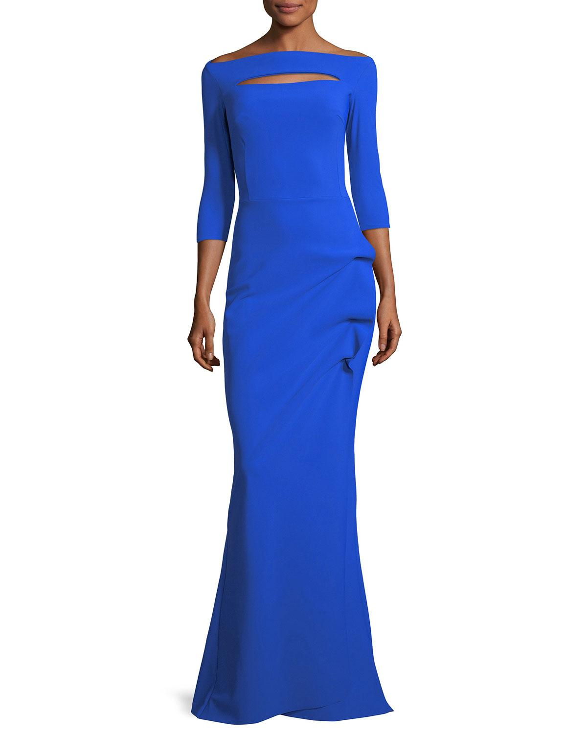 d7d8655598c6 Chiara Boni La Petite Robe Kate Keyhole Gathered Trumpet Evening Gown, Blue  Klein In Colbalt