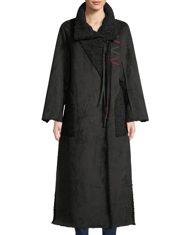 Amanda Baldan Long Tie-front Faux-suede Coat W/ Sun-catcher Embroidery In Black
