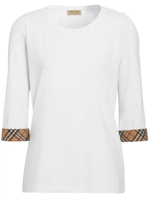 Burberry Lohit Check Cuff Stretch Cotton Tee In White