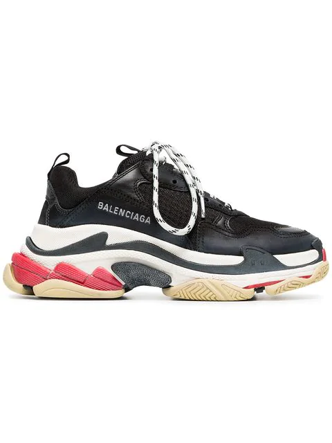 Balenciaga Triple S Logo-embroidered Leather, Nubuck And Mesh Sneakers In 1000 Black