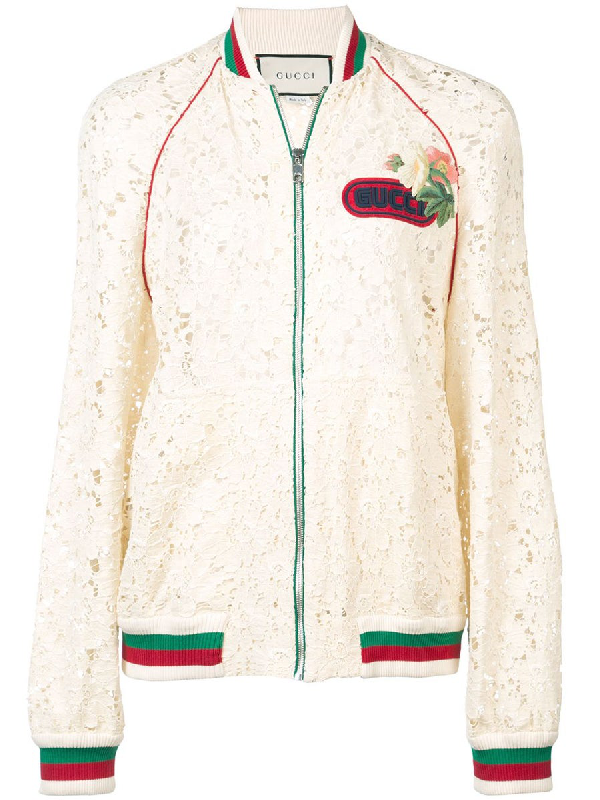 Gucci Leaf-brocade Lace Zip-front Bomber Jacket With Embroidered Patch In White