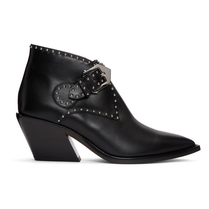 Givenchy Ankle Boots Bottine  Calfskin Logo Metallic Black