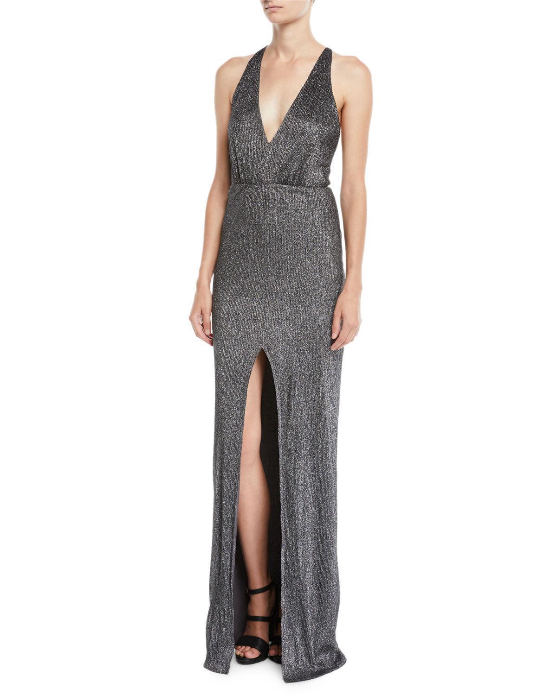 92130150814 Halston Heritage Metallic Knit Halter Gown W  Strappy Back In Dark Gray