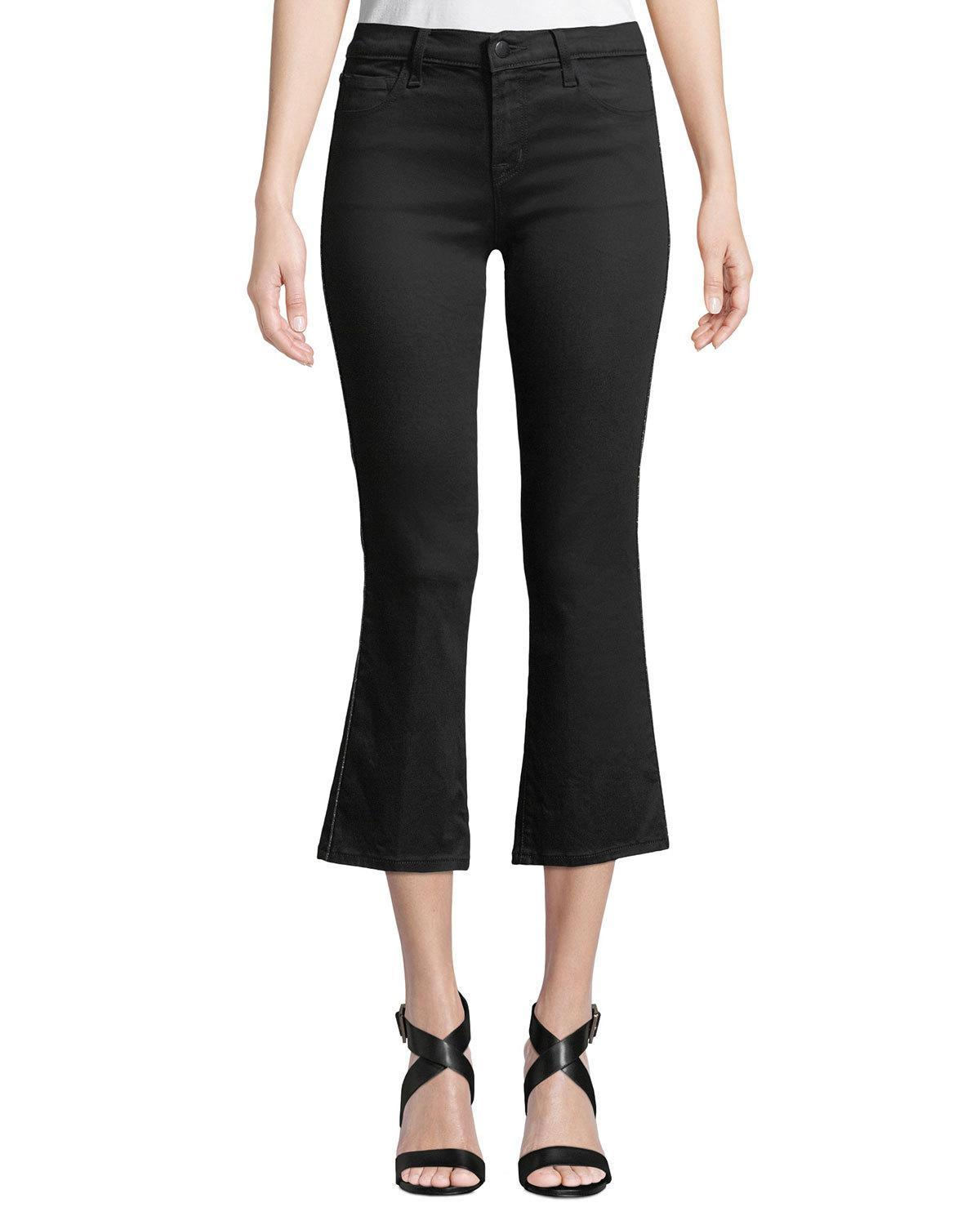 b9a182838fa J Brand Selena Mid Rise Coated Cropped Bootcut Jeans In Admiration In Black  Eyelet