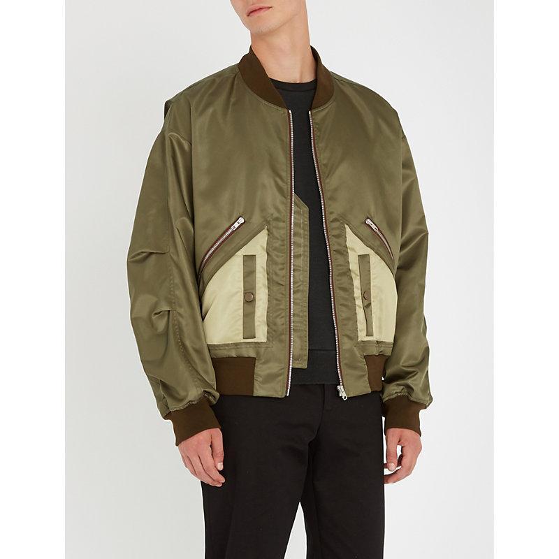 Maison Margiela Contrast-pocket Satin Bomber Jacket In Green