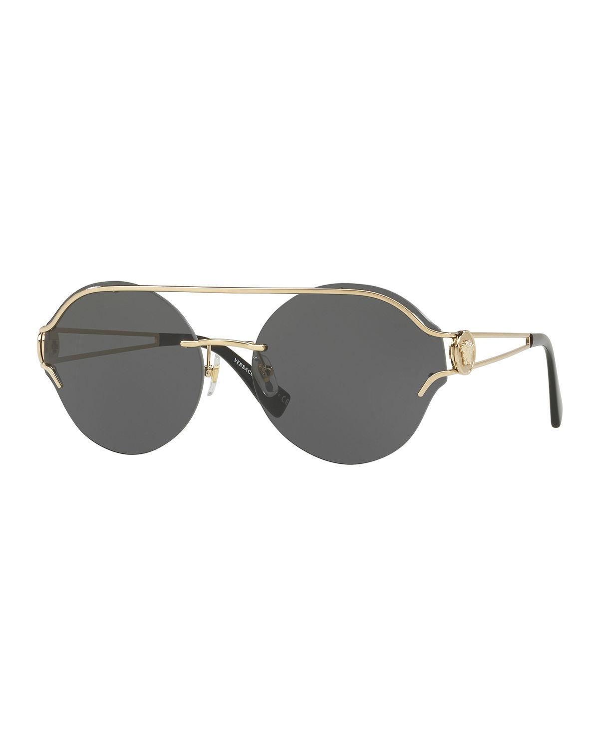 a9b07980cf6d Versace Rock Icons Medusa 61Mm Metal Sunglasses - Pale Gold Solid In Gold  Grey