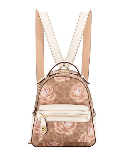 f8a2e38e125e6 Coach Campus 23 Coated Canvas Signature Rose Backpack In Tan Chalk ...