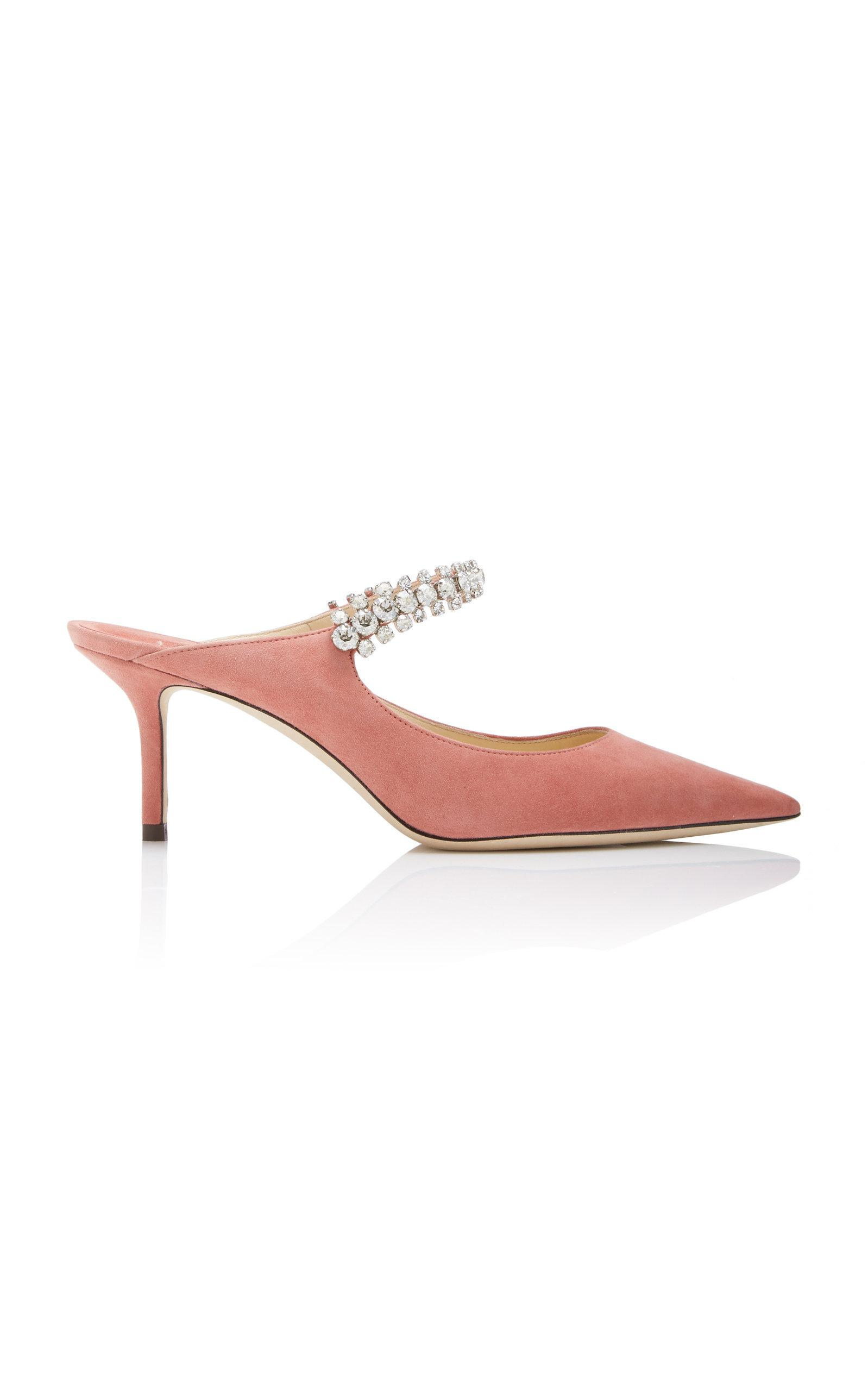 9fc53a70b Jimmy Choo Bing 65 Rosewood Suede Mules With Crystal Strap In Pink ...