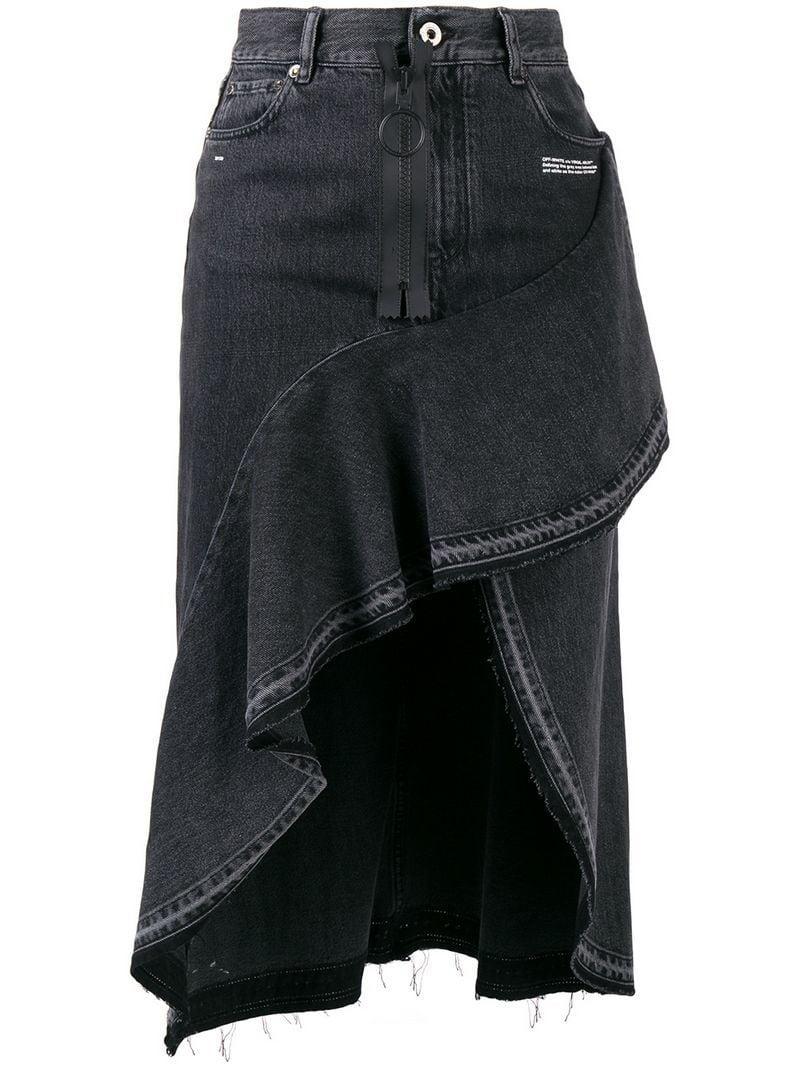 Off-white Off White Denim Ruffle Skirt In Black