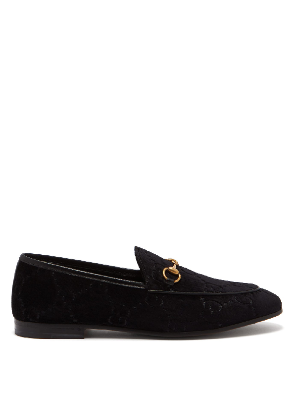 Gucci Jordaan Horsebit-detailed Leather-trimmed Logo-jacquard Loafers In Black