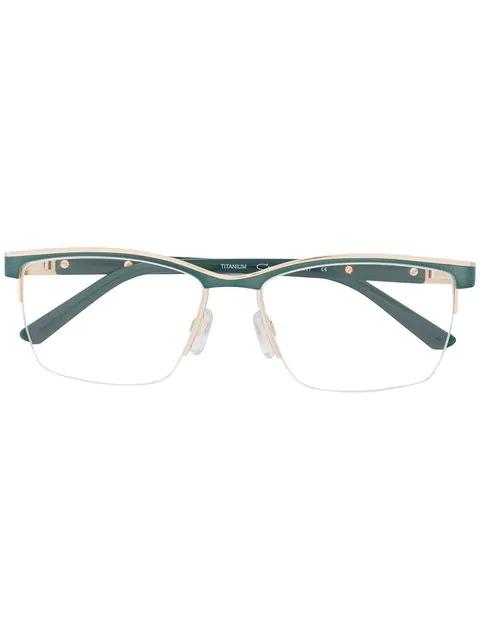 Cazal Rectangular Shaped Glasses In Green