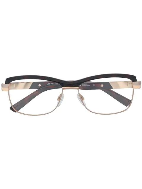 Cazal Rectangular Shaped Glasses In Brown