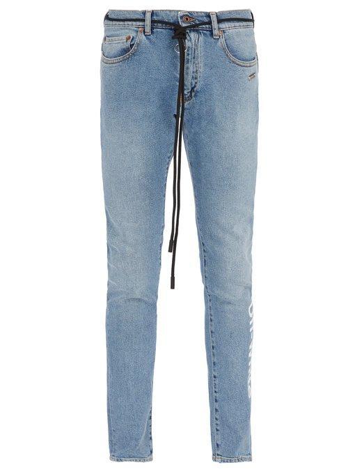 f19d0d6ef40b Off-White Skinny-Fit Printed Stretch-Denim Jeans In Blue