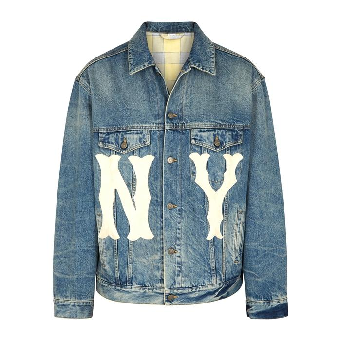 2fb5acd816d Gucci Men s Denim Jacket With Ny Yankees Trade  Patch In Blue