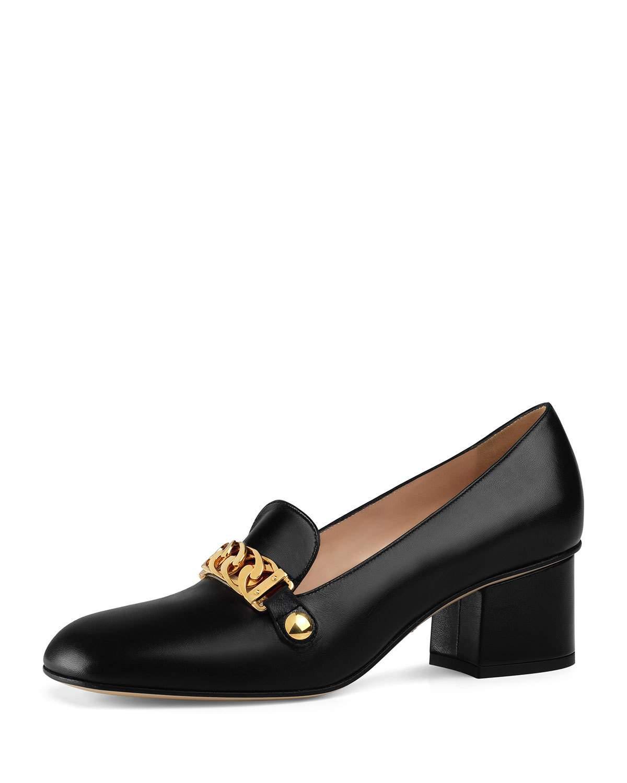 1065e5f0d Gucci Sylvie Web-Stripe And Chain Block-Heel Loafers In Black | ModeSens